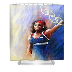 2012 Tennis Olympics Gold Medal Serena Williams Shower Curtain by Miki De Goodaboom