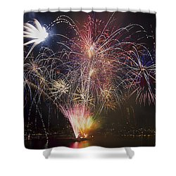 2013 Independence Day Fireworks Display On Portland Oregon Water Shower Curtain by David Gn