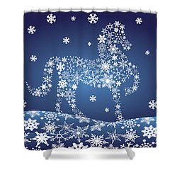 2014 Chinese Horse With Snowflakes Night Winter Scene Shower Curtain