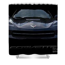 2014 Corvette With Emblem Shower Curtain