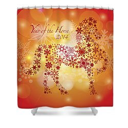 2014 Happy New Year Of The Horse With Snowflakes Pattern Shower Curtain by Jit Lim