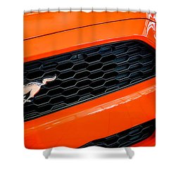 2015 Ford Mustang Prototype Grille Emblem -0092c Shower Curtain by Jill Reger