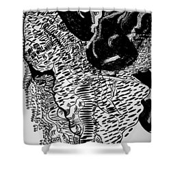 Shower Curtain featuring the drawing Dinka Dance - South Sudan by Gloria Ssali