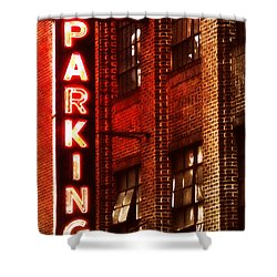 Shower Curtain featuring the photograph 24-hour Garage by Miriam Danar
