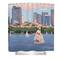 25 On The Charles Shower Curtain by Dianne Panarelli Miller