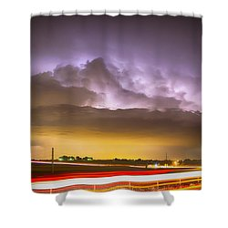 25 To 34 Intra-cloud Lightning Golden Light Car Trails Shower Curtain by James BO  Insogna