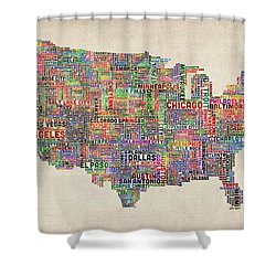 United States Typography Text Map Shower Curtain by Michael Tompsett