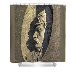 2nd Maine Light Artillery Battery B - Halls Detail-a Gettysburg Autumn Morning Shower Curtain by Michael Mazaika