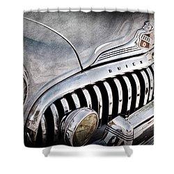 1947 Buick Eight Super Grille Emblem Shower Curtain by Jill Reger