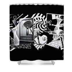 Shower Curtain featuring the mixed media 2d Elements In Black And White by Xueling Zou