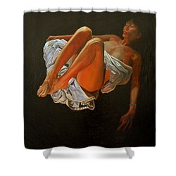 Shower Curtain featuring the painting 3 30 Am by Thu Nguyen