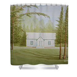 Shower Curtain featuring the painting A North Carolina Church by Stacy C Bottoms