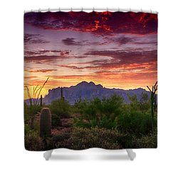 A Superstition Sunrise  Shower Curtain by Saija  Lehtonen