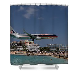 American Airlines At St. Maarten  Shower Curtain by David Gleeson