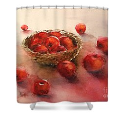 Apples  Apples Shower Curtain by Yoshiko Mishina