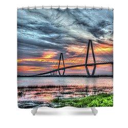 Arthur Ravenel Bridge Stormy Skies Shower Curtain