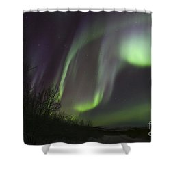 Aurora Borealis By Fish Lake Shower Curtain by Joseph Bradley