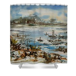 Shower Curtain featuring the painting Bay Scene by Xueling Zou