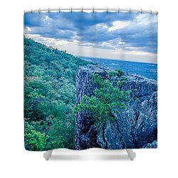 Beautiful Aerial Landscape Views From Crowders Mountain Near Gas Shower Curtain