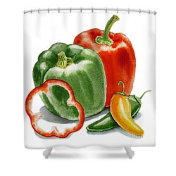 Bell Peppers Jalapeno  Shower Curtain by Irina Sztukowski