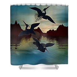 3 Black Herons At Sunset Shower Curtain by Bedros Awak