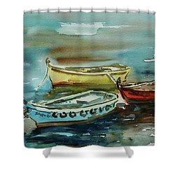 3 Boats II Shower Curtain by Xueling Zou