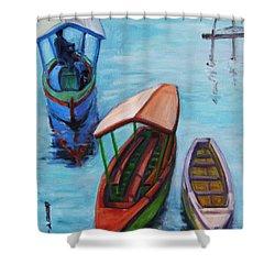 3 Boats IIi Shower Curtain by Xueling Zou