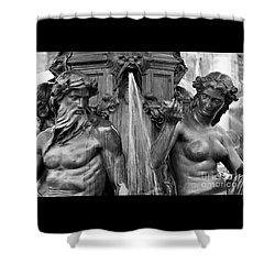 Brewer Fountain Boston Ma Black And White Shower Curtain