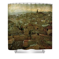 Calahorra Roofs From The Bell Tower Of Saint Andrew Church Shower Curtain by RicardMN Photography