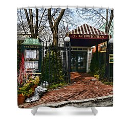 Central Park Boathouse Shower Curtain by Paul Ward