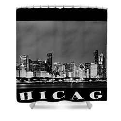Chicago Skyline At Night In Black And White Shower Curtain