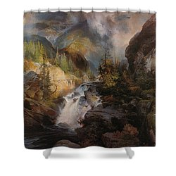 Children Of The Mountain Shower Curtain by Thomas Moran