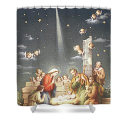 Christmas Card Shower Curtain by French School