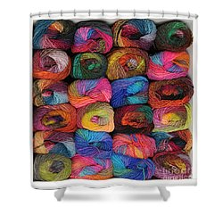 Colorful Knitting Yarn Shower Curtain by Les Palenik