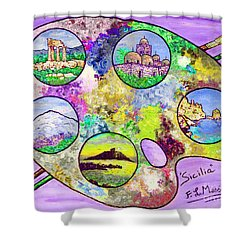 Sicily On A Palette Shower Curtain by Loredana Messina
