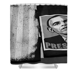 Commercialization Of The President Of The United States Of America In Black And White Shower Curtain by Rob Hans