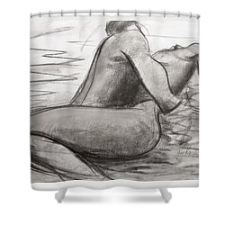 Shower Curtain featuring the painting Deep Love by Jarmo Korhonen aka Jarko