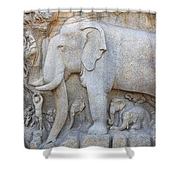 Elephant Sculpture At Mamallapuram  Shower Curtain by Robert Preston