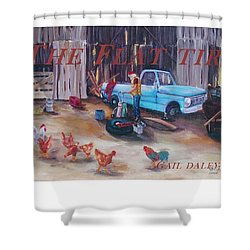 Flat Tire Shower Curtain