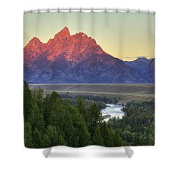 Shower Curtain featuring the photograph Grand Tetons Morning At The Snake River Overview - 2 by Alan Vance Ley