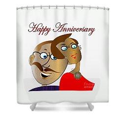 Happy Anniversary Shower Curtain by Iris Gelbart