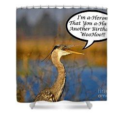 Happy Heron Birthday Card Shower Curtain by Al Powell Photography USA