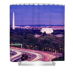 High Angle View Of A Cityscape Shower Curtain