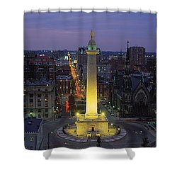 High Angle View Of A Monument Shower Curtain by Panoramic Images