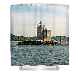 Shower Curtain featuring the photograph Huntington Lighthouse by Karen Silvestri