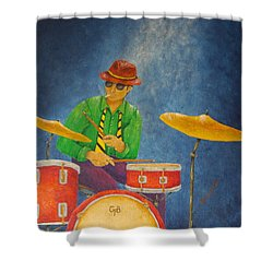 Jazz Drummer Shower Curtain