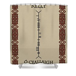 Shower Curtain featuring the digital art Kelly Written In Ogham by Ireland Calling