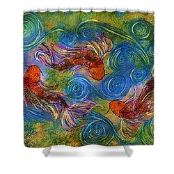 Koi Mating Dance Shower Curtain by Janet Immordino
