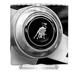 Lamborghini Steering Wheel Emblem Shower Curtain by Jill Reger