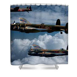 3 Lancaster Bombers Shower Curtain